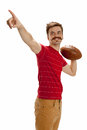 Young casual football player pointing man dressed in street clothes holds a ready to throw a pass isolated on white background Stock Photography