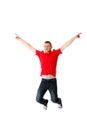 Young casual man jumping. Royalty Free Stock Photo