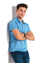 Young casual man in polo shirt smiling Royalty Free Stock Photo