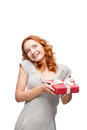 Young casual woman hoding christmas gift Stock Image