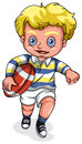 A young caucasian boy playing rugby football illustration of on white background Stock Photo