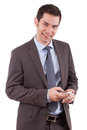 Young caucasian business man using a mobile phone Stock Photo