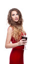 Young caucasian elegant woman red long dress holding wineglass isolated white Royalty Free Stock Photos