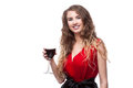 Young caucasian elegant woman red long dress holding wineglass isolated white Royalty Free Stock Images