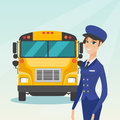 Young caucasian female school bus driver.