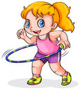 A young caucasian girl playing with a hulahoop illustration of on white background Stock Photo