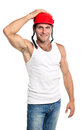 Young Caucasian man in a hard hat Stock Photo