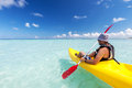Young caucasian man kayaking Royalty Free Stock Photo