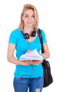Young caucasian student girl holding books caucasian people isolated on white background Stock Photos