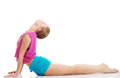 Young caucasian woman is exercising stretching herself isolated on white Royalty Free Stock Photos