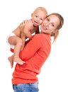 Young caucasian woman and her baby son over white women background Royalty Free Stock Photos