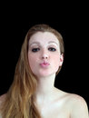 Young Caucasian Woman Puckered Lips Bare Shoulders Royalty Free Stock Photography