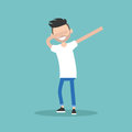 Young character making DAB dance / flat