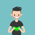 Young character playing with a slime / flat editable vector
