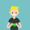Young character playing with a slime / flat