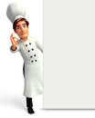 Young chef with big white sign d rendered illustration of Royalty Free Stock Images