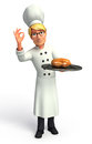 Young chef with pan and chicken d rendered illustration of Stock Photo