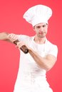 Young chef shot red background Royalty Free Stock Photography