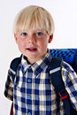Young child with a backpack Royalty Free Stock Images