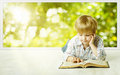 Young Child Boy Reading Book, Small Children Early Development Royalty Free Stock Photo