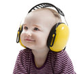 Young child with ear protector Stock Photos