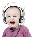 Young child with headset Stock Images
