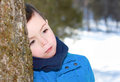 Young child outdoor during winter Royalty Free Stock Image