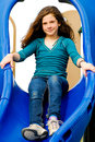 Young Child on a slide Stock Photography