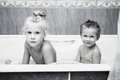 Young children in bathroom Royalty Free Stock Photography