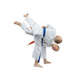 Young children are doing judo throws Royalty Free Stock Photography