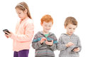 Young children using social media mobile phones for isolated on white Royalty Free Stock Photo