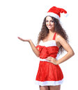 Young christmas woman show white background Stock Photography