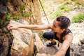 Young Climbers Rock Climbing Royalty Free Stock Photo