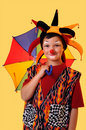 Young Clown With Umbrella Royalty Free Stock Image