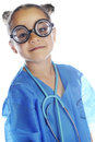 Young coke bottled doc head and shoulders image of an elementary doctor in bottle glasses blue scrubs and a stethoscope on a white Stock Image