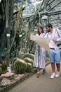 Young colleagues in visit to a botanical garden