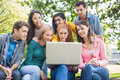 Young college students using laptop in park group of the Royalty Free Stock Image