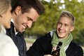 Young companionship outdoors smiling Stock Photography