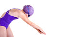 Young competitive swimmer in dive pose Royalty Free Stock Photos