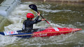 Young competitor bedford bedfordshire england august in competition at bedford viking kayak club cardington slalom course Royalty Free Stock Images