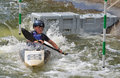 Young competitor kayak bedford bedfordshire england august in competition at bedford viking club cardington slalom course Stock Photos