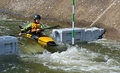 Young competitor kayak bedford bedfordshire england august male in competition at bedford viking club cardington slalom course Royalty Free Stock Image