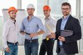 Young construction crew in the process of work Royalty Free Stock Photo