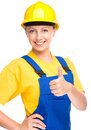 Young construction worker is showing thumb up sign happy lady as a isolated over white Royalty Free Stock Image