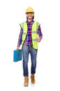Young construction worker with toolbox isolated on stock photography concept for usage Royalty Free Stock Images