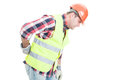 Young constructor suffering form back pain Royalty Free Stock Photo