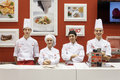 Young cooks at host in milan italy october pose international exhibition of the hospitality industry on october Stock Photos