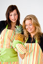 Young cooks with pineapple Royalty Free Stock Image