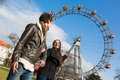 Young couple at amusement park in wien Stock Image
