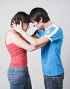 Young couple arguing with violence Royalty Free Stock Photo
